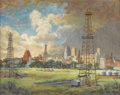 Texas:Early Texas Art - Regionalists, RICHARD GOETZ (1915-1991). Oklahoma City Skyline, 1951. Oilon canvas. 16in. x 20in.. Signed and dated lower left. Signe...