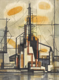 Texas:Early Texas Art - Modernists, MICHAEL FRARY (1918-2005). Oil Refinery. Watercolor. 29in. x27 1/2in.. Signed lower right. During his career, Michael...