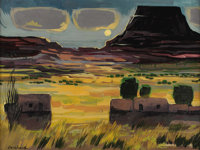 DOEL REED (1895-1985) Untitled Moon, Mesa, and Adobes Oil on masonite 18in. x 24in. Signed lower right  Doel Reed was...