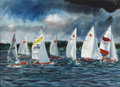 Texas:Early Texas Art - Regionalists, MICHAEL FRARY (1918-2005). Untitled Sailboat Regatta. Watercolor.22in. x 30in.. Signed lower right. Michael Frary's paint...