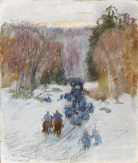 LEON GASPARD (Russian-American 1882-1964) Retreat From Charlois, France, 1915 Pastel on paper 22 x 19 inches (55.9 x