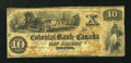 Canadian Currency: , Toronto, CW- The Colonial Bank of Canada $10 April 1, 1859 Ch. #130-10-02-12. ...