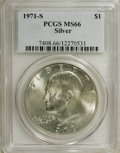 Eisenhower Dollars: , 1971-S $1 Silver MS66 PCGS. PCGS Population (1762/292). NGC Census: (614/69). Mintage: 2,600,000. Numismedia Wsl. Price for...