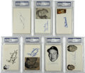 Autographs:Index Cards, Baseball Hall of Famers Signed Index Cards, PSA Authentic Lot of 7. Each encapsulated within one of the protective holders...
