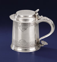 AN AMERICAN COLONIAL SILVER TANKARD Richard Van Dyke, New York, New York, circa 1750 Marks: conjoined RVD