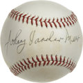 Autographs:Baseballs, Johnny Vander Meer Single Signed Baseball. Johnny Vander Meer willalways be remembered for his tremendous back-to-back out...