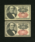 Fractional Currency:Fifth Issue, Fr. 1309 25c Fifth Issue. Two Examples. Very Fine, pinholes.... (Total: 2 notes)
