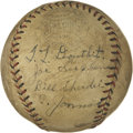 Autographs:Baseballs, 1929 St. Louis Cardinals Game Used and Signed Baseball. The game ofbaseball played a large role in the formation of a nati...