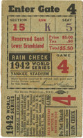 Baseball Collectibles:Tickets, 1942 World Series Game Four Ticket Stub. After dropping the firstgame to the mighty Yanks, the St. Louis Cardinals would s...