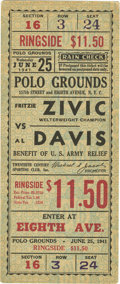 Boxing Collectibles:Memorabilia, 1941 Fritzie Zivic v. Al Davis Full Ticket. In 1940 Hall of Famer Fritzie Zivic shocked the boxing world when he won as a 4...
