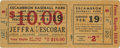 Boxing Collectibles:Memorabilia, 1938 Harry Jeffra v. Sixto Escobar Full Ticket. Former bantamweight champion Harry Jeffra claimed that title in 1937 when h...