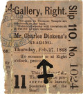Books:Fiction, [Charles Dickens]. Framed Ticket Stub from a Reading at Boston'sTremont Temple, February 27, 1968....