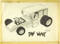 "Movie/TV Memorabilia:Original Art, George Barris ""Surf Woody"" Design Sketch. A classic Barris design,the ""Surf Woody"" was a worldwide sensation when it made i...(Total: 1 Item)"