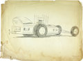 "Movie/TV Memorabilia:Original Art, George Barris ""Dragula"" Design Sketch. An unsigned 24"" x 18""pencil-and-ink wash sketch of one of George Barris' most popula...(Total: 1 Item)"