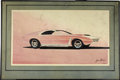 "Movie/TV Memorabilia:Original Art, George Barris Sportscar Design Artwork. A 25"" x 14""ink-and-airbrush design sketch of a sleek pink sportscar thatblends fut... (Total: 1 Item)"