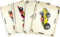 Movie/TV Memorabilia:Original Art, George Barris Car Caricature Design Sketches. A set of fourradicalized hot rod design sketches by an unspecified artist, fr...(Total: 1 Item)