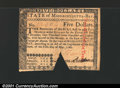 Colonial Notes:Massachusetts, May 5, 1780, $5, Massachusetts, MA-282, XF, COC....