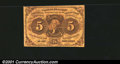 Fractional Currency:First Issue, First Issue 5c, Fr-1230, VF. Two small pinholes are evident....