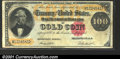 Large Size Gold Certificates:Large Size, 1882 $100 Gold Certificate, Fr-1214, VF. There is a tiny repair...