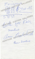 "Movie/TV Memorabilia:Autographs and Signed Items, Anna Nicole Smith Handwritten Note Signed in Full. An interestingitem - a white sheet of plain paper, 5"" x 8.5"" in size, wr..."