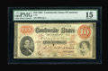 Confederate Notes:1861 Issues, T24 $10 1861 Cr-156, PF-1. This note exhibits great colors for the grade, which is encased in a PMG Choice Fine 15 holde...