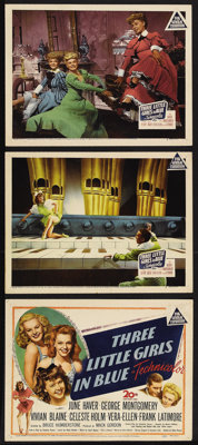 """Three Little Girls in Blue (20th Century Fox, 1946). Title Lobby Card (11"""" X 14"""") and Lobby Cards (2) (11""""..."""
