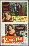 """Movie Posters:Crime, Vendetta (RKO, 1950). Title Lobby Card (11"""" X 14"""") and Lobby Card (1) (11"""" X 14""""). Crime. Starring Faith Domergue, George Do... (Total: 2 Items)"""