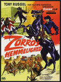 "Movie Posters:Western, Behind the Mask of Zorro (CEPICSA, 1967). Danish One Sheet (24"" X 33""). Western. Starring Tony Russel, Maria Jose Alfonso an..."