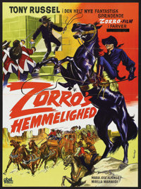 "Behind the Mask of Zorro (CEPICSA, 1967). Danish One Sheet (24"" X 33""). Western. Starring Tony Russel, Maria J..."