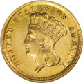 Three Dollar Gold Pieces: , 1854-D $3 --Cleaned--ANACS. AU55 Details. The 1854-D three is theonly issue of this denomination struck at the Dahlonega Mi...