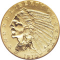 Proof Indian Quarter Eagles: , 1910 $2 1/2 PR65 NGC. Like nearly all known proof 1910 quartereagles, this example exhibits brilliant and satiny yellow su...