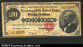 Large Size Gold Certificates:Large Size, 1882 $20 Gold Certificate, Fr-1178, VG. A low grade yet basical...