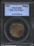 1652 Oak Tree Shilling XF40 PCGS. Breen-18, Noe-5. 69.6 grains. An original piece with much of the original luster still...