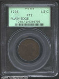 1795 1/2 C Plain Edge Fine 12 PCGS. B-6c, C-6a, R.2. Struck on a cut down Talbot, Allum & Lee cent, this example is...