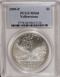 Modern Issues: , 1999-P $1 Yellowstone Silver Dollar MS68 PCGS. PCGS Population(51/1238). NGC Census: (14/956). Numismedia Wsl. Price for ...