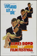 "Movie Posters:James Bond, James Bond Film Festival -- Live and Let Die (United Artists,R-1976). One Sheet (27"" X 41"") Style A. James Bond...."