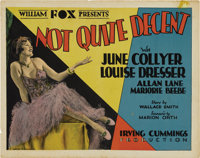 "Not Quite Decent (Fox, 1929). Title Card and Lobby Card (11"" X 14"").... (Total: 2 Items)"