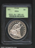 Seated Dollars: , 1851 S$1