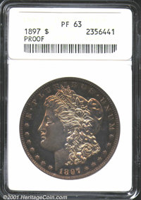 1897 $1 PR63 ANACS. Chrome light yellow color pleasantly covers deeply reflective fields and handsome matte devices on t...