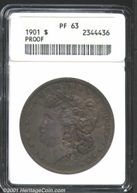 1901 $1 PR63 ANACS. Deep soot-gray patina has blanketed this coin, with inconsequential silver color showing through at...