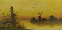 ROBERT WOOD (1889-1979) Untitled, 1920s or earlier Oil on paper board 12in. x 24in. Signed lower left  Very possibly t...