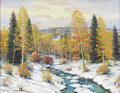 Texas:Early Texas Art - Regionalists, DWIGHT HOLMES (1900-1986). Ruidoso Snow, 1947. Oil oncanvas. 28in. x 36in.. Signed and dated lower left. Signed andtit...