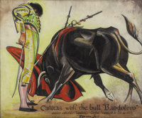 TOM LEA (1907-2001) Canitas with the Bull Bandolero, 1943 Ink and watercolor 9in. x 11in. Signed, dated, and titled