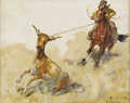Texas:Early Texas Art - Regionalists, FRED DARGE (1900-1978). Roping A Steer. Oil on canvasboard.8in. x 10in.. Signed lower right. Titled verso. Fred Darge...