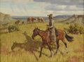 Texas:Early Texas Art - Regionalists, FRED DARGE (1900-1978). Every Day Work. Oil on canvasboard.12in. x 16in.. Signed lower right. Riding up on the caprock,...