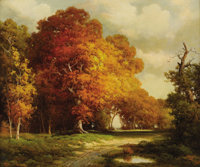 ROBERT WOOD (1889-1979) Texas in November Oil on canvas 25in. x 30in. Signed lower left Titled verso  A magnifica