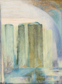 BILL BOMAR (1919-1990) Green Masses Oil on canvas 24in. x 18in. Signed lower left  This composition is built up wi