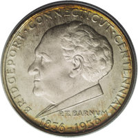 1936 50C Bridgeport MS67 PCGS. Though the committee that distributed the Bridgeport commemoratives requested P.T. Barnum...