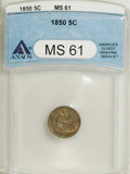 Seated Half Dimes: , 1850 H10C MS61 ANACS. NGC Census: (8/156). PCGS Population (5/112).Mintage: 955,000. Numismedia Wsl. Price for NGC/PCGS co...