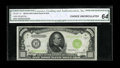 Small Size:Federal Reserve Notes, Fr. 2211-H $1000 1934 Light Green Seal Federal Reserve Note. CGA Choice Uncirculated 64.. Pleasing colors are seen on this a...